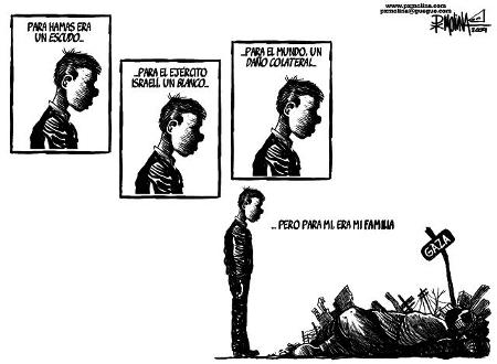 Viñeta sobre el conflicto de Gaza. Autor de la viñeta, Pedro X. Molina: www.pxmolina.com/.